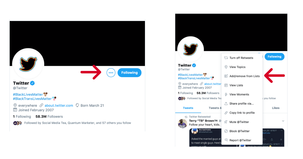 Screenshots of how to add/remove from Twitter lists